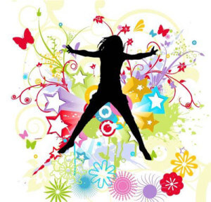 Dansende vrouw blij